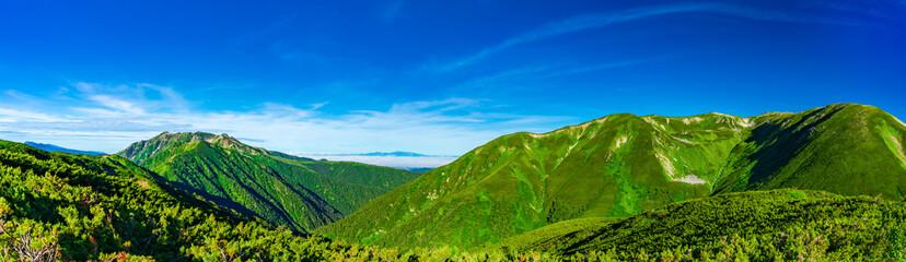 鏡平山荘から双六小屋ルートから見た風景(パノラマ写真)