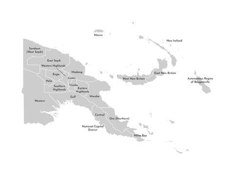 Vector isolated illustration of simplified administrative map of Papua New Guinea. Borders and names of the provinces. Grey silhouettes. White outline