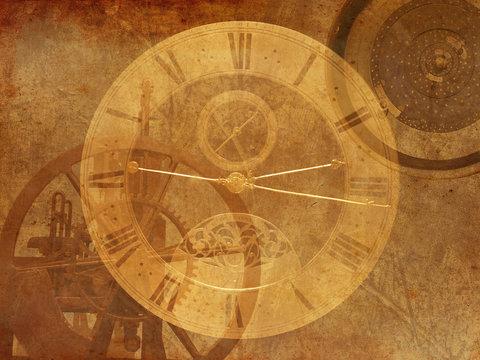 Vintage Steampunk clock background, old dark retro canvas paper map