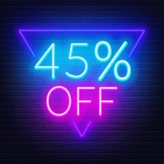 Fototapete - 45 percent off neon lettering. Vector illustration