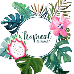 Exotic tropical palm leaves and dragonfruit. Frame border background. Summer vector illustration. Template for card. Watercolor style