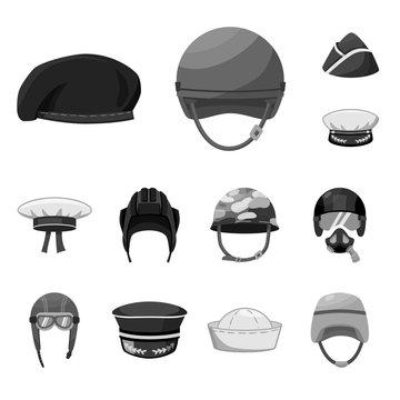 Vector illustration of headgear and modern sign. Collection of headgear and clothing stock vector illustration.