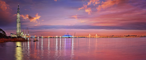 Panorama of modern St. Petersburg and the Gulf of Finland at sunset Fototapete