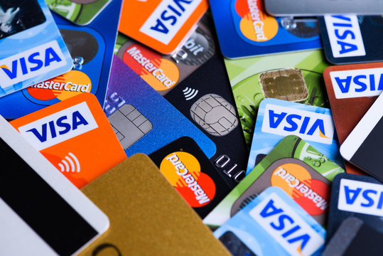 Plastic bank payment cards, Visa and Mastercard, credit and debit.