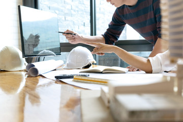 in the office engineer or architectural project,