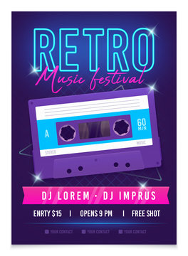 Retro music poster template. Music festival. Realistic bright audio cassette. Mixtape in Style of 80s. Retrowave music party in nightclub