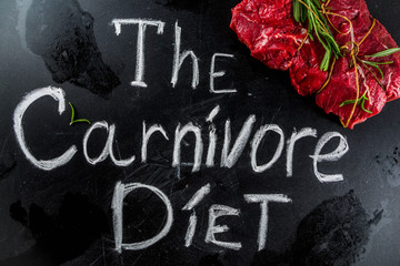 Carnivore diet background. Non vegan protein sources, Different meat food - chicken breast, pork steak, beef tenderloin, eggs, spices for cooking. Black stone concrete background copy space - fototapety na wymiar