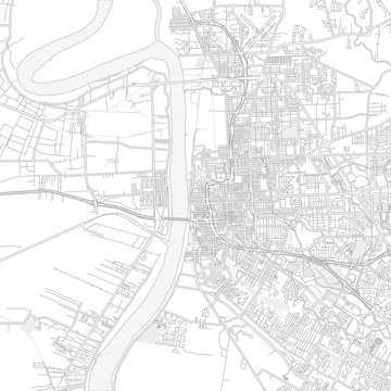 Baton Rouge, Louisiana, USA, bright outlined vector map