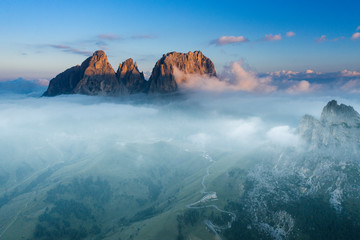 Aerial view of Grohmann spitze, Dolomites, Italy