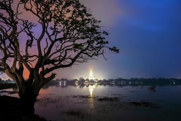 A Stupa at Dawn on a Foggy Morning in Anuradhapura, Sri Lanka