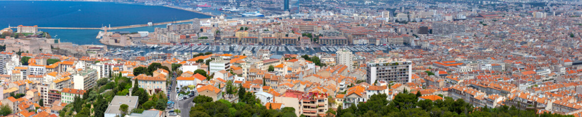 Marseilles. Panoramic view of the old port and the city embankment.