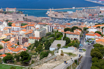 Marseilles. Aerial view of the fort of St. John and the harbor.