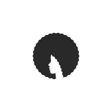 Head African American girl with afro logo hairstyle, elegant emblem for a beauty salon or hairdresser