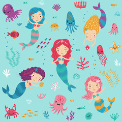 Seamless pattern with mermaids and sea.