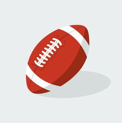 American football ball flat isolated on grey