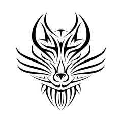 leader wolf's head in the form of tribal tattoos