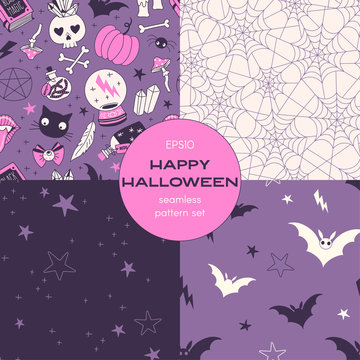 Witchcraft cartoon vector seamless pattern set. Witch stuff, cobweb, midnight starry sky, flying bats backgrounds pack. Black magic night decorative textile, wallpaper, wrapping paper design