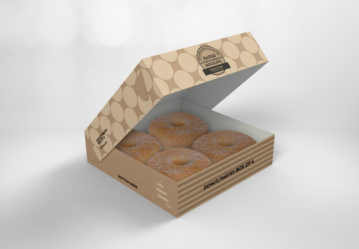 Open Square Pastry Box Mockup