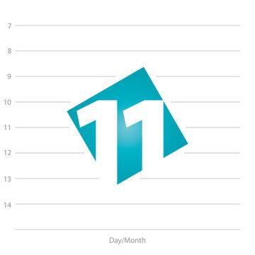 2020 Calendar day 11 planner blue background template