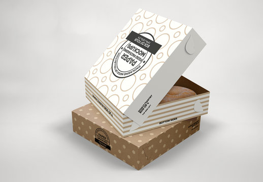 Stacked Pastry Boxes Mockup