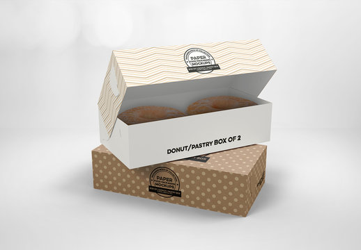 2 Stacked Small Pastry Boxes Mockup