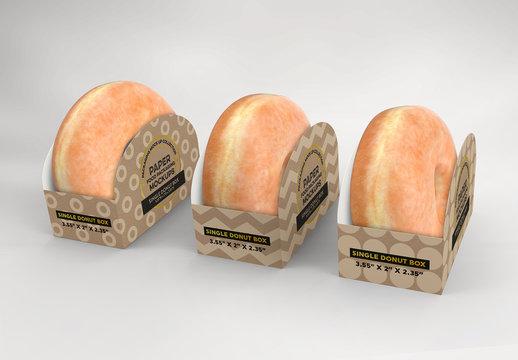 3 Single Pastry Boxes Mockup