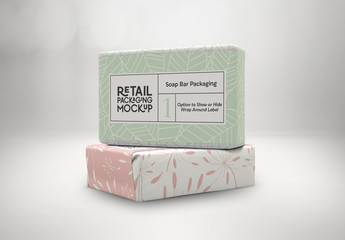 2 Stacked Soap Bars Packaging Design Mockups
