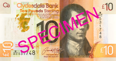 10 Pounds Sterling note issued by Clydesdale Bank PLC specimen reverse