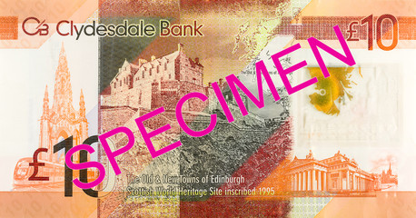10 Pounds Sterling note issued by Clydesdale Bank PLC specimen obverse
