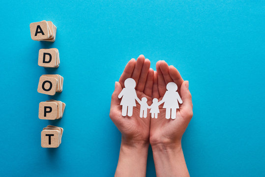 cropped view of woman holding paper cut lesbian family near blocks with adopt lettering on blue background