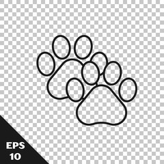 Black line Paw print icon isolated on transparent background. Dog or cat paw print. Animal track. Vector Illustration