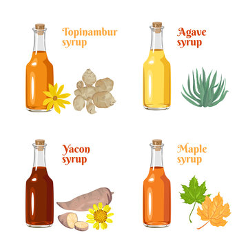 Set of natural sweeteners. Syrup of Jerusalem artichoke, yakon, agave and maple in glass bottles Isolated on a white background. Healthy food vector illustration in cartoon flat simple style.