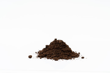Organic soil on white background