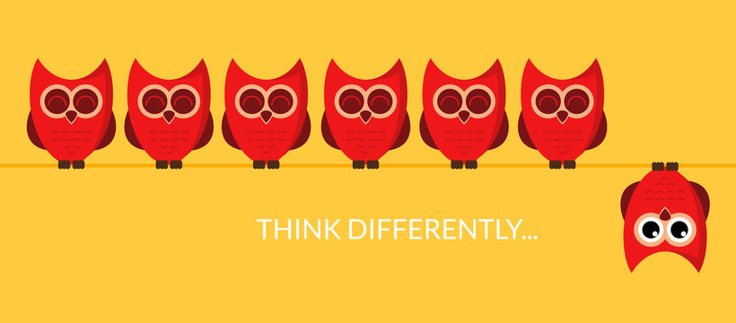 Think different funny idea concept. Unique minimal leader owl stand. Think differently leadership