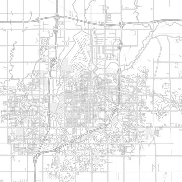 Sioux Falls, South Dakota, USA, bright outlined vector map