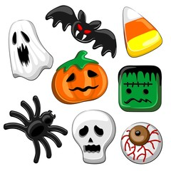 Zelfklevend Fotobehang Draw Halloween Candies Set of 8 Vector elements isolated on White