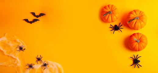 Halloween scene on orange background