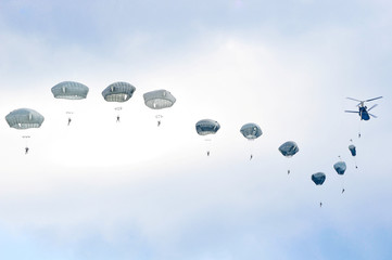 U.S. Army paratroopers participate in an airborne proficiency jump at Bunker Drop Zone in Grafenwoehr Training Area Germany