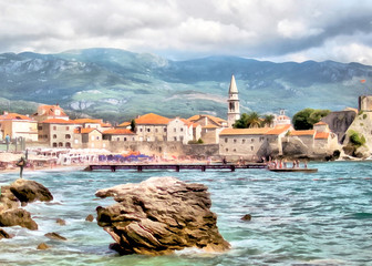 Drawing of the old town of Budva, Montenegro