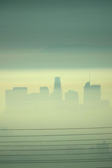 Downtown Los Angeles is seen behind electricity lines through the morning marine layer in Los Angeles