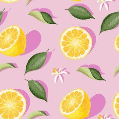 Seamless pattern with lemon slices and leaves