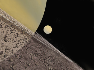 Rings of Saturn and the moon Titan