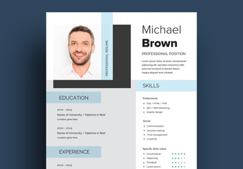 Resume Layout with Light Blue Accents
