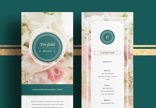 Business Trifold Brochure Layout with Dark Green Accents