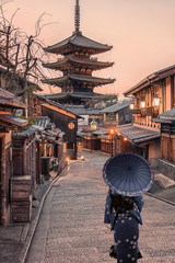 Traditional street in the old Kyoto at sunset