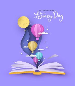 Literacy Day open book papercut hot air balloon