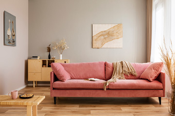 Comfortable velvet pastel pink couch in elegant beige interior with abstract painting