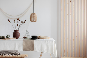 Real photo of dining room in minimal natural home Fototapete
