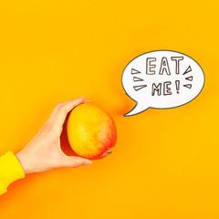 Mango fruit in creative pop art style concept