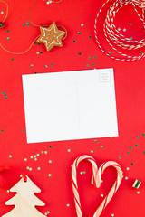 Christmas greeting postcard mockup with glitter